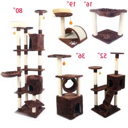 "16""—80"" Cat Tree Tower Condo Furniture Scratching Post Pet"