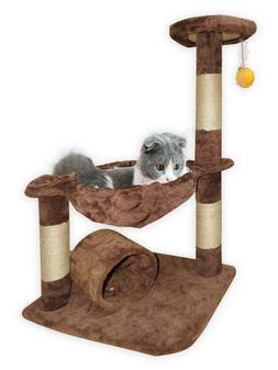 3-level Cat Tree Condo Hammock Plush Sisal Tunnel Hanging To