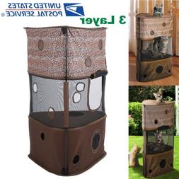 3 Tier Pet Cat Tree Play House fluffy Condo w/ Scratching Po