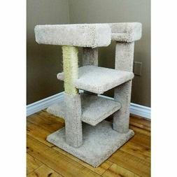 New Cat Condos 33 in. Solid Wood 3 Level Large Cat Tree Towe