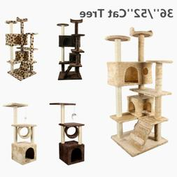 """36""""/52'' Cat Tree Scratcher Play House Condo Kitty Furniture"""