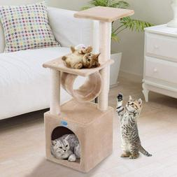 "36"" Beige Cat Tree Condo  Play Toy Kitten Pet House Tunnel S"