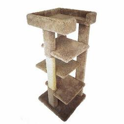 New Cat Condos 46 in. Solid Wood 4 Level Large Cat Tree Towe