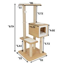 """48""""  Large Cat Tree Condo with Scratching Posts Perches Hous"""