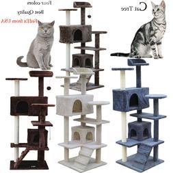 "51"" Cat Tree Furniture Kitten House Play Tower Scratcher Gre"