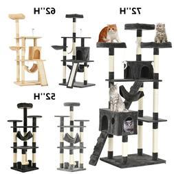 "52"" 62"" 72"" Cat Tree Condo Kitty Climbing Tower Pet Scratchi"