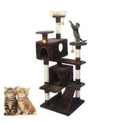 """52"""" Brown Pet Cat Tree Play House Tower Condo Bed Scratch Po"""