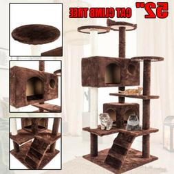 """52"""" Cat Tree Tower Condo Scratch Post Pet Kitty Play House B"""