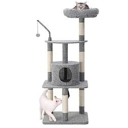 FEANDREA 53 inches Multi-Level Cat Tree with Sisal-Covered S