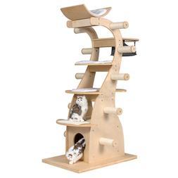 """63"""" Modern Design 6 floors Solid Wood Deluxe Cat Tree Indoor"""