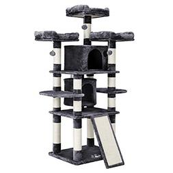 """FEANDREA 67"""" Multi-Level Cat Tree for Large Cats, with Cozy"""