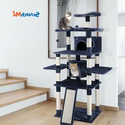 """ScratchMe 67"""" Pet Cat Tree Play House Tower Condo Bed Scratc"""