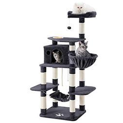 """FEANDREA 68.5"""" Sturdy Cat Tree with Feeding Bowl, Cat Condos"""