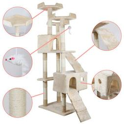 """68"""" Cat Tree Bed Furniture Scratching Tower Post Condo Kitte"""