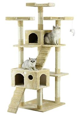 "72"" Cat Tree Condo for Indoor Cat Big Tower Giant Castle & L"