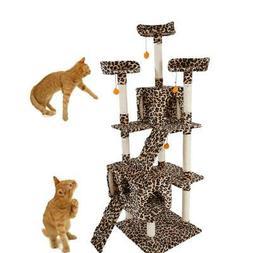 "72"" Cat Tree Condo Sisal Furniture Scratching Post Pet Cat K"