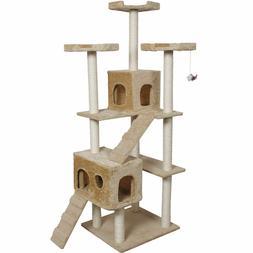 Tower Condo Furniture Scratch Post Pet Home Bed Beige Goplus