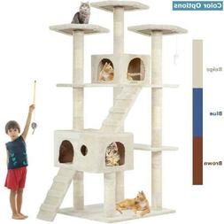 "73"" Cat Tree Scratcher Play House Condo Furniture Bed Post P"