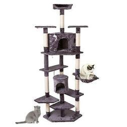 "80"" Cat Tree Tower Condo Climbing Furniture Scratching Post"