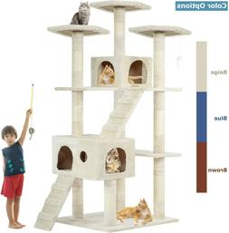 "Beige 72"" Cat Tree Scratcher Play House Condo Furniture Bed"
