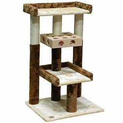 """Go Pet Club Beige and Brown 34.5"""" Cat Tree with IQ Box"""
