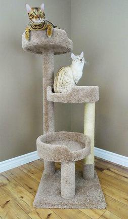 Carpet Cat Tree Furniture Large Beds Big Cats, Beige, Brown,