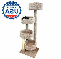 Carpet Cat Tree Wood Furniture Tower for Large Cats 4 Beds,
