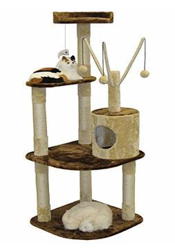 Go Pet Club Cat Climber Condo, 60-Inch, Brown/Beige