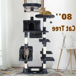 Cat Tree, 80 Inch Kitty Condo Furniture Sisal Rope Activity