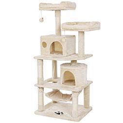 BEWISHOME Cat Tree Condo Furniture Kitten Activity Tower Pet