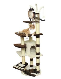 OxGord Cat Tree Condo Furniture Scratch Post Pet House, Brow