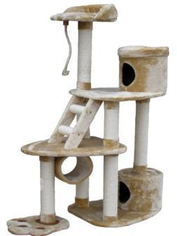 Go Pet Club Cat Tree Condo House, 22W x 46L x 59H, Beige