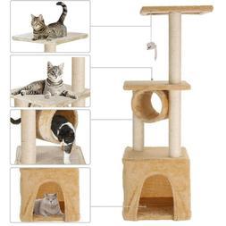Cat Tree Furniture Kitten House Play Tower Scratcher White C