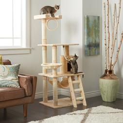 cat tree play house 62in durable compressed