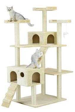 Cat Tree Tower Cat Condo House Scratch Pad Perch Beige Play