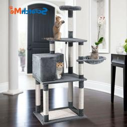 ScratchMe Cat Tree Tower Condo w/ Hammock Scratching Post &