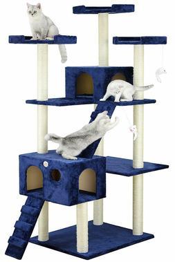 Cat Tree Tower House Hut 72 inch Condo Scratching Post Climb