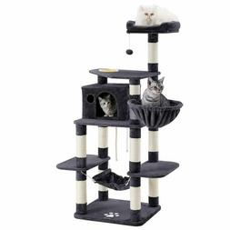 FEANDREA 68.5 inches Sturdy Cat Tree with Feeding Bowl, Cat