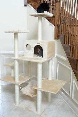 """Gleepet Cat Tree With Hammack 5 Levels Beige 14""""D x 48.4""""W x"""
