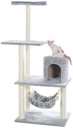 GleePet GP78590222 Cat Tree with Hammock, 59-Inch, Silver Gr
