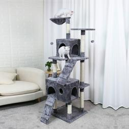Gray Cat Tree Condo House With Hanging Ball Furniture Scratc