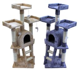 Kitten Cat Tree Scratch Post Sisal Toy Activity Centre Grey/