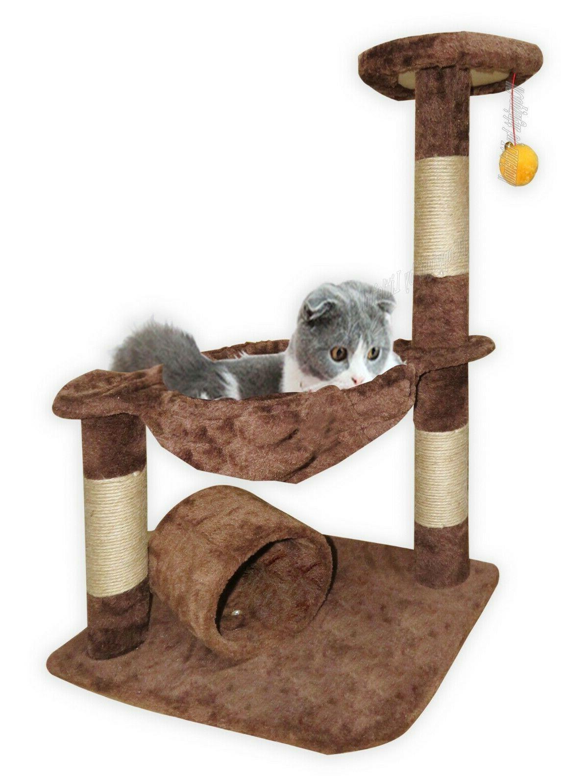3 level cat tree condo hammock plush