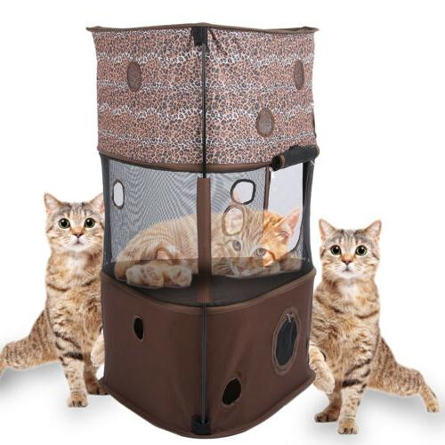 3 Pet Cat Tree Play Condo Climbing Ladder