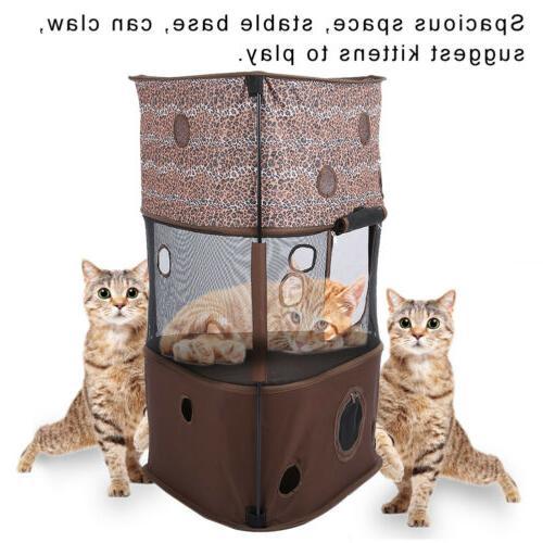 3 Pet Cat Tree Play House Condo w/ Climbing