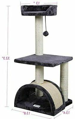 """Roypet 32"""" Cat Tree with Scratching Pad and Perch Grey"""