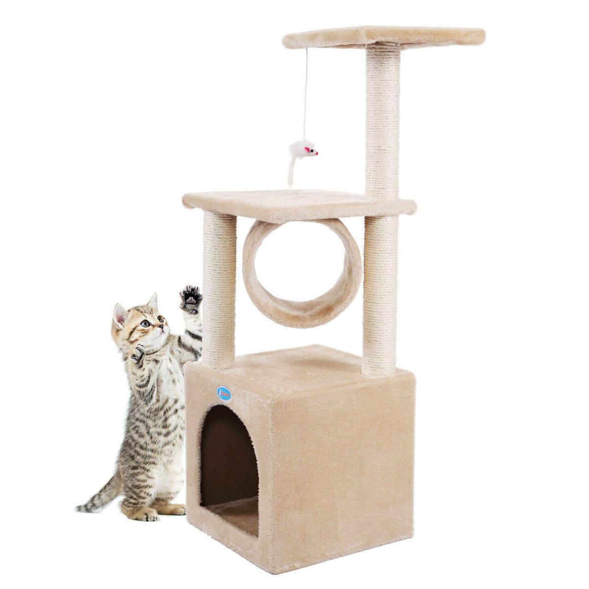 """36"""" Beige Cat Tree Condo Pet 3-Level"""