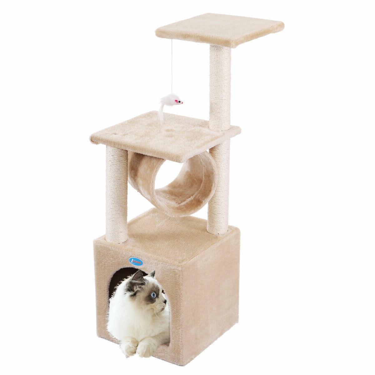 "36"" Beige Cat Tree Condo Play Toy Pet 3-Level"