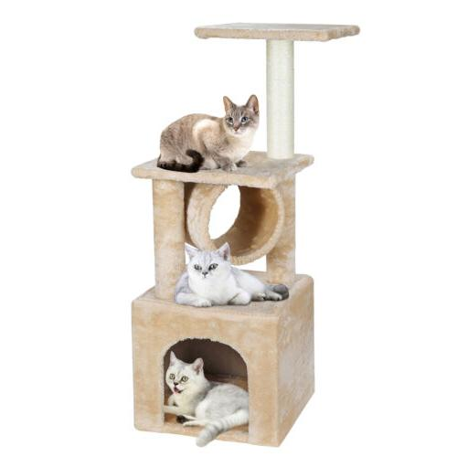 three levels cat tree activity tower furniture
