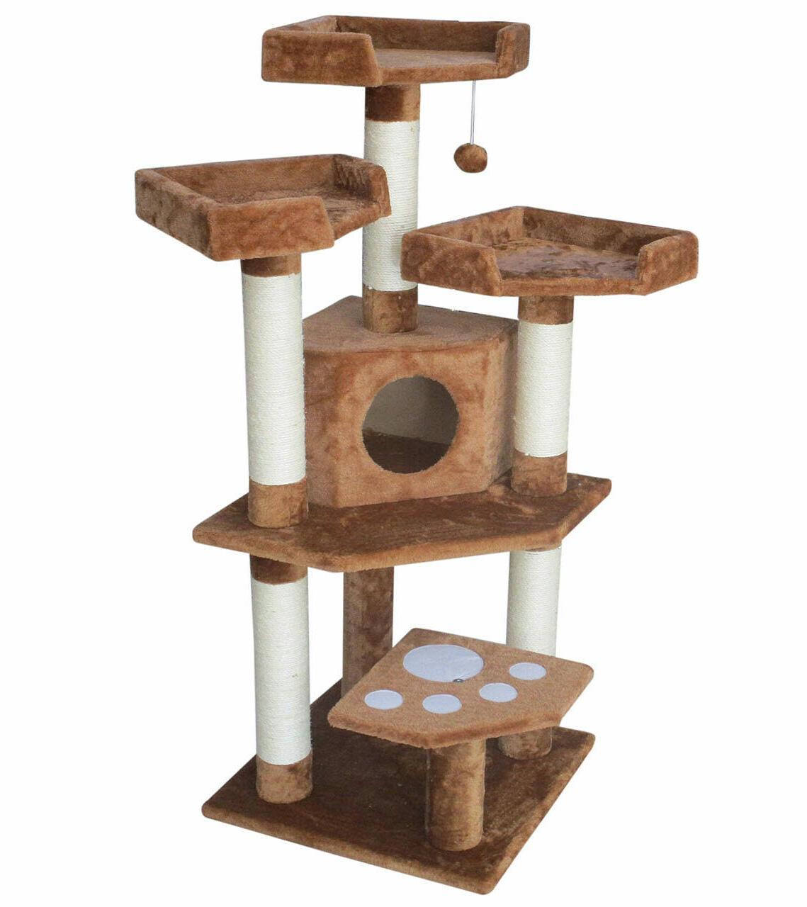 "CozyCatFurniture 47"" Plush Cat Tree Condo Beds Scratching Posts"